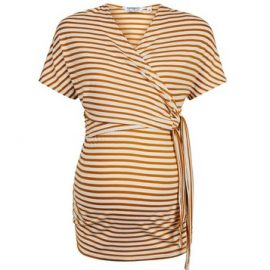 Womens Dp Maternity Yellow Stripe Print Nursing Wrap Top