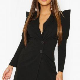 Womens Extreme Puff Sleeve Wrap Blazer Dress - Black at boohoo.com UK & IE