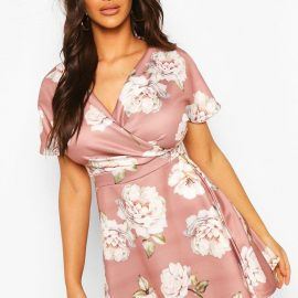 Womens Floral Wrap Skater Dress - Purple at boohoo.com UK & IE