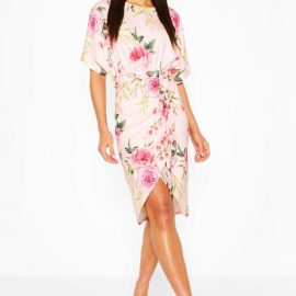 Womens Floral Wrap Tie Waist Midi Dress - Beige at boohoo.com UK & IE