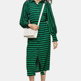 Womens Green Check Shirred Midi Shirt Dress - Green