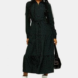 Womens Heart Tiered Shirt Dress - Green