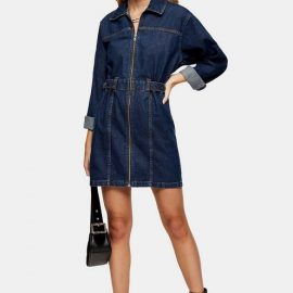 Womens Indigo Denim Long Sleeve Shirt Dress - Indigo