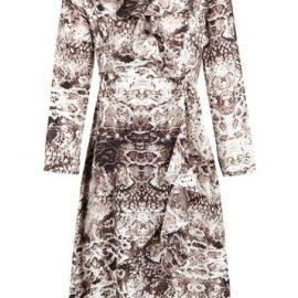 Womens *Izabel London Brown Snake Print Wrap Dress