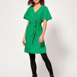 Women's Ladies green polka dot wrap dress short flutter sleeve tie waist belt at M&Co