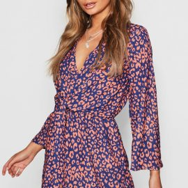 Womens Leopard Print Knot Front Wrap Dress - Navy at boohoo.com UK & IE