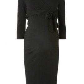 Womens Maternity Black 3/4 Sleeve Ruched Wrap Nursing Dress