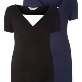 Womens Maternity Black And Navy Two Pack Nursing T-Shirt Set