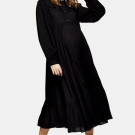 Womens **Maternity Black Daisy Grandad Shirt Dress - Black