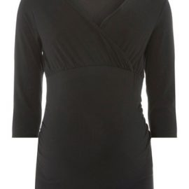 Womens Maternity Black Ruched Wrap Nursing Top