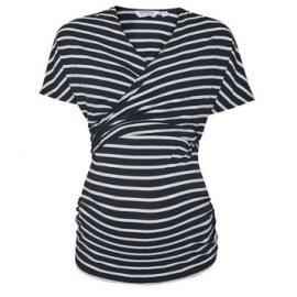 Womens Maternity Black Stripe Print Nursing Top