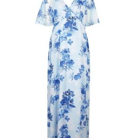 Womens Maternity Blue Floral Print Nursing Maxi Dress