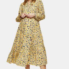 Womens **Maternity Daisy Grandad Shirt Dress - Yellow