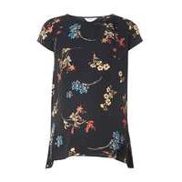 Womens **Maternity Nursing Black Floral Top- Black - Dorothy Perkins Nursing Clothes