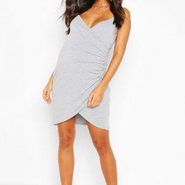 Womens Maternity Nursing Wrap Over Cami Dress - Grey at boohoo.com UK & IE