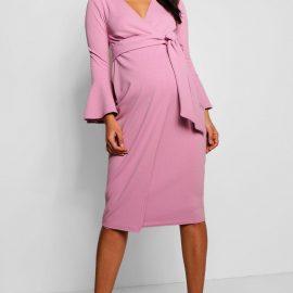 Womens Maternity Ruffle Sleeve Wrap Dress - Pink at boohoo.com UK & IE