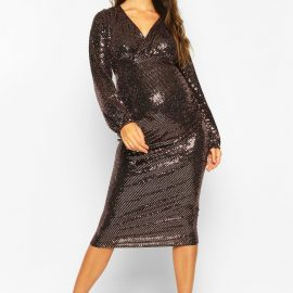 Womens Maternity Stretch Sequin Wrap Dress - Brown at boohoo.com UK & IE