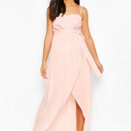 Womens Maternity Tie Waist Wrap Dress - Beige at boohoo.com UK & IE