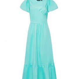 Womens Mint Green Poplin Cotton Wrap Dress