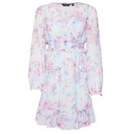 Womens Multi Colour Floral Print Chiffon Wrap Fit And Flare Dress - Green