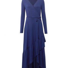 Womens Navy Jersey Wrap Dress - Blue