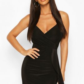 Womens Neon Wrap Front Strappy Mini Dress - Black at boohoo.com UK & IE