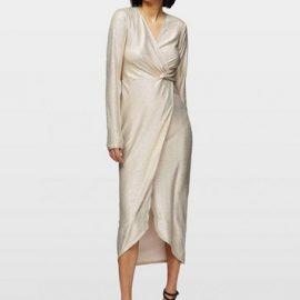 Womens Nude Metallic Twist Detail Midi Wrap Dress
