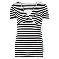 Womens **Nursing Maternity Black and White Stripe Wrap Top- Black - Dorothy Perkins Nursing Clothes