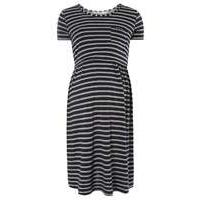 Womens **Nursing Maternity Navy and Grey Stripe Skater Dress- Blue - Dorothy Perkins Nursing Clothes