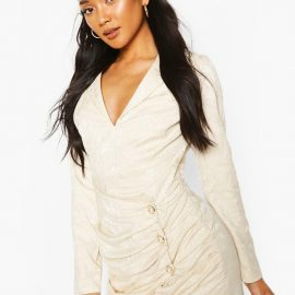 Womens Occasion Wrap Pearl Button Blazer Dress - White at boohoo.com UK & IE