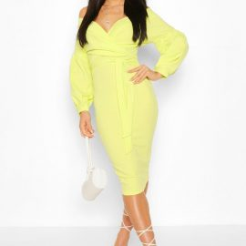 Womens Off The Shoulder Wrap Midi Bodycon Dress - Green at boohoo.com UK & IE