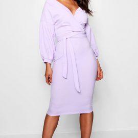 Womens Off The Shoulder Wrap Midi Bodycon Dress - Purple at boohoo.com UK & IE