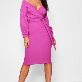 Womens Off The Shoulder Wrap Midi Dress - Purple at boohoo.com UK & IE