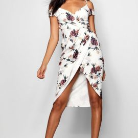 Womens Open Shoulder Floral Wrap Midi Dress - White at boohoo.com UK & IE