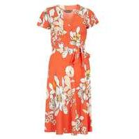 Womens Orange floral wrap dress- Orange - Dorothy Perkins Nursing Clothes