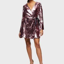 Womens Pale Pink Sequin Wrap Mini Dress