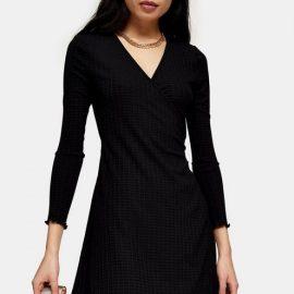 Womens Petite Black Seersucker Wrap Mini Dress - Black