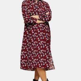 Womens Petite Burgundy Floral Trapeze Midi Shirt Dress - Burgundy