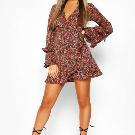 Womens Petite Floral Long Sleeve Wrap Dress - Black at boohoo.com UK & IE