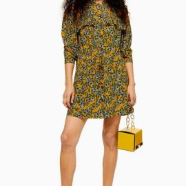 Womens Petite Idol Agadir Paisley Pleat Mini Shirt Dress - Mustard