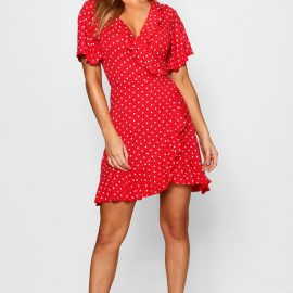 Womens Petite Polka Dot Ruffle Wrap Tea Dress - Red - 4