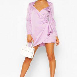 Womens Petite Polka Dot Tie Detail Wrap Dress - Purple - 4