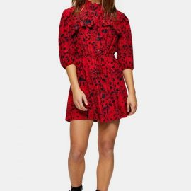Womens Petite Red Animal Mini Shirt Dress - Red