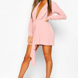 Womens Petite Wrap Front Blazer Dress - Pink at boohoo.com UK & IE