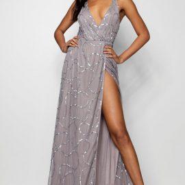 Womens Plunge Wrap Sequin Maxi Bridesmaid Dress - Grey at boohoo.com UK & IE
