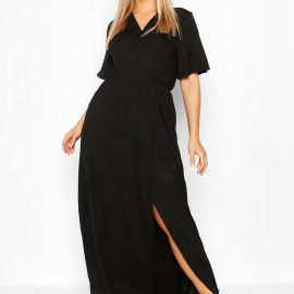 Womens Plus Angel Sleeve Wrap Maxi Dress - Black - 24