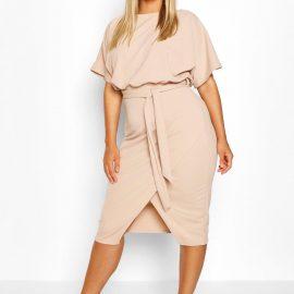 Womens Plus Blouson Wrap Detail Midi Dress - Beige - 24