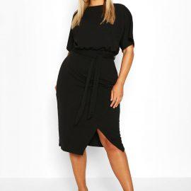 Womens Plus Blouson Wrap Detail Midi Dress - Black - 24