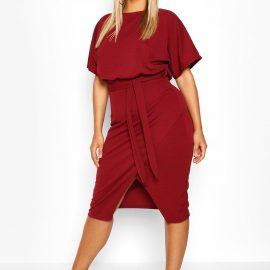 Womens Plus Blouson Wrap Detail Midi Dress - Red - 24