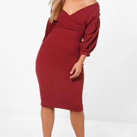Womens Plus Off The Shoulder Wrap Midi Dress - Purple - 24